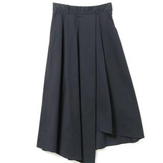 レイビームス(Ray BEAMS)のRay Beams ツイルアシメタック ロングスカート ネイビー 新品未使用(ロングスカート)