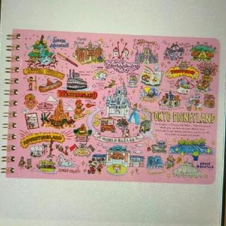 Disney - ディズニー マップ柄手描き風シリーズ 横型リングノート♪