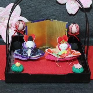 着物うさぎのお雛さま(柄付き盆)(インテリア雑貨)