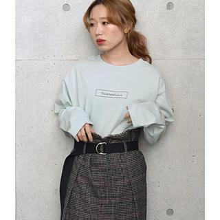 ダブルクローゼット(w closet)の新品▷ シンプルロゴプリントロンTee サックスブルー(Tシャツ(長袖/七分))
