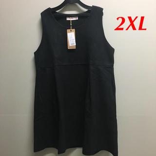 新品!重ね着用 ワンピース ノースリーブ 黒 3L(ひざ丈ワンピース)