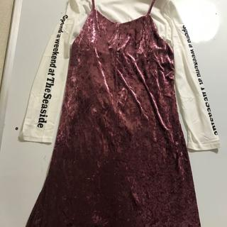 新品■大きいサイズ4L■Tシャツ+キャミワンピース■ピンク(ひざ丈ワンピース)