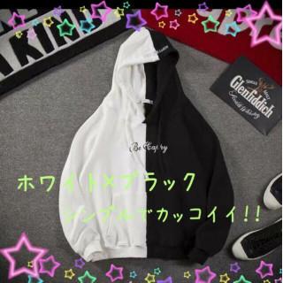 新品未使用★ビッグシルエット ツートンカラー 白×黒 韓国 ユニセックス(パーカー)