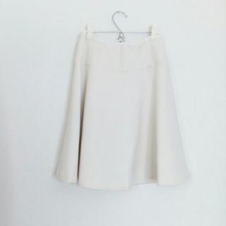 デミルクスビームス(Demi-Luxe BEAMS)の美品 Demi-luxe オフホワイト フレアスカート(ひざ丈スカート)