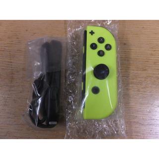 ニンテンドースイッチ(Nintendo Switch)の未使用 Joy-Con (R)ネオンイエロー Joy-conストラップ黒 右(家庭用ゲーム本体)