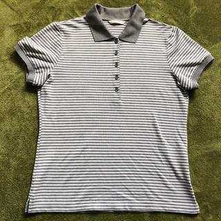 ユニクロ(UNIQLO)のUNIQLO ポロシャツ レディース Lサイズ グレー ボーダー(ポロシャツ)