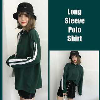 緑 グリーン L ポロシャツ ライン入りtシャツ 袖 ライン 襟付き トレーナー(ポロシャツ)