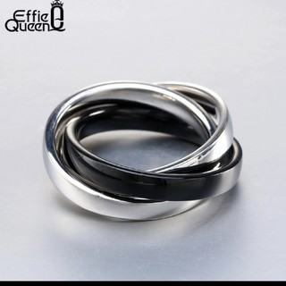 《新品》値下げ❗️海外  3連 リング ブラック(リング(指輪))