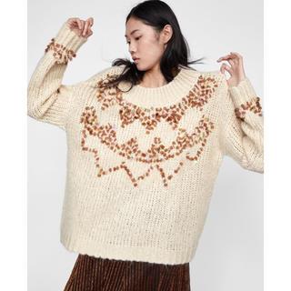 ザラ(ZARA)の実物が圧倒的に可愛いニット❗️ZARA 新品 スパンコールニット セーター(ニット/セーター)