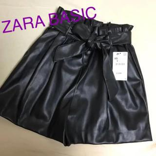 ザラ(ZARA)の【新品タグ付】ZARA BASICウエストリボンレザーキュロット♡(キュロット)