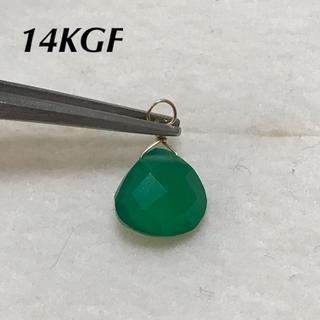 天然石 グリーンオニキス 14KGF チャーム トップ(チャーム)