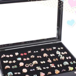 リングケース 指輪 ベロア調 ピアスケース 100個 収納可 ジュエリーボックス(ケース/ボックス)