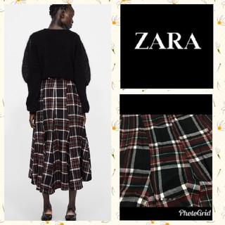ザラ(ZARA)のZARA チェック柄ロングスカート(ロングスカート)