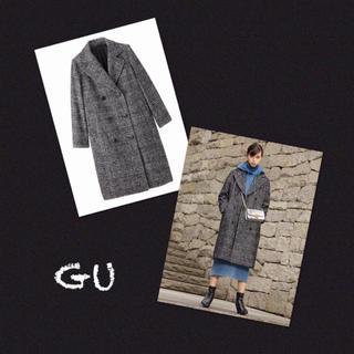 ジーユー(GU)の完売・人気❗️美品✨GU ダブルブレストコート グレンチェック ロングコート (ロングコート)