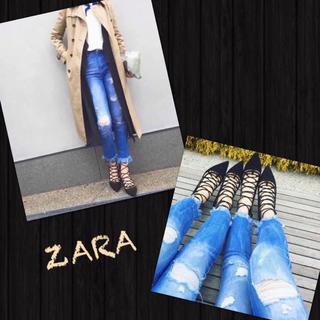 ザラ(ZARA)の完売人気商品❗️ZARA✨新品✨希少 34 クラッシュ ヘム フリンジ デニム (デニム/ジーンズ)
