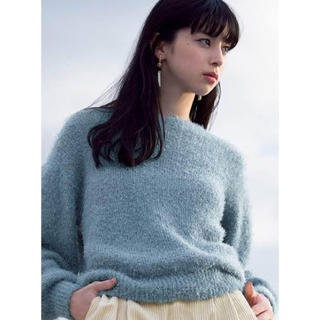 ジーユー(GU)のフェザーヤーンセーター ブルー(ニット/セーター)