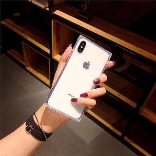 (白、iphone x ) iphoneケース シェルケース スクエア 透明