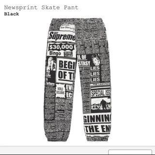 シュプリーム(Supreme)のSupreme newsprint skate pant Sサイズ 美品(チノパン)