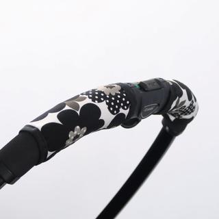 ベビーカー グリップカバー ハンドルカバー 北欧花柄 ブラック(ベビーカー用レインカバー)