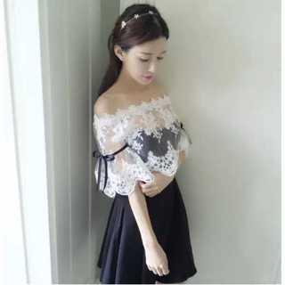 ザラ(ZARA)の刺繍 レース ショール セット パーティー ドレス M ナイトドレス ミニドレス(ミニドレス)