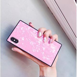 iPhoneX用 iPhoneXS用カバー シェル柄 ピンク 人気スクエア型