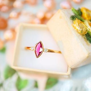 覆輪留めのルビーとダイヤモンドのキラキラ華奢リング⋆エテ クロチェ お好きな方(リング(指輪))