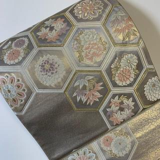 ♡グレー×シャンパンゴールド亀甲文様の袋帯(帯)