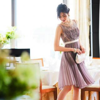 ビジュー プリーツシフォンドレス ワンピース パーティー 結婚式 ドレス(その他)