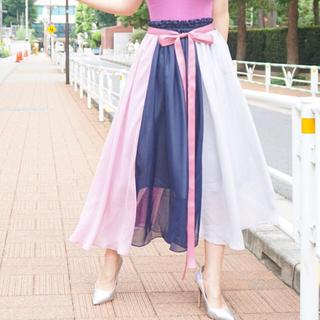 エクラン ブロックギャザリングスカート