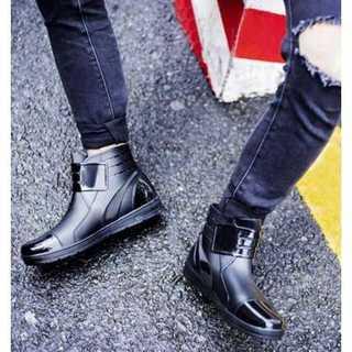 ★新品★メンズ レイン ブーツ シューズ 靴 ベルクロ 長靴 黒 26 男性用(長靴/レインシューズ)