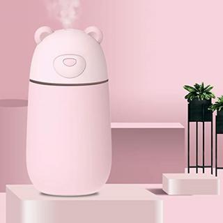 クマのデザインが可愛い♡卓上ミニ加湿器 USB付300mL ピンク