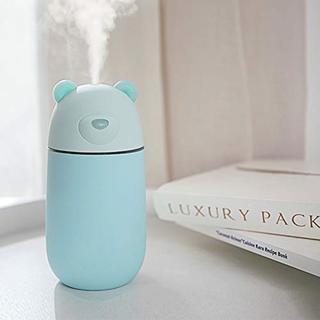 クマのデザインが可愛い♡卓上ミニ加湿器 USB付300mL ブルー(加湿器/除湿機)