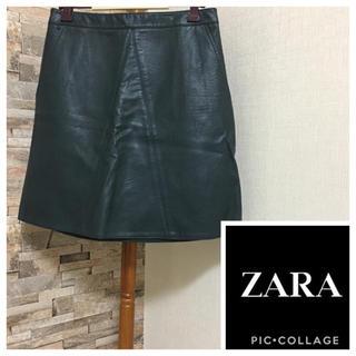 ザラ(ZARA)のZARA ☆ レザースカート(ひざ丈スカート)