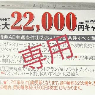 エーユー(au)のau スペシャル  銀クーポン 最大22000円分 1枚(その他)