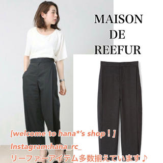 メゾンドリーファー(Maison de Reefur)のメゾンドリーファー  ストライプタックパンツ 黒(カジュアルパンツ)