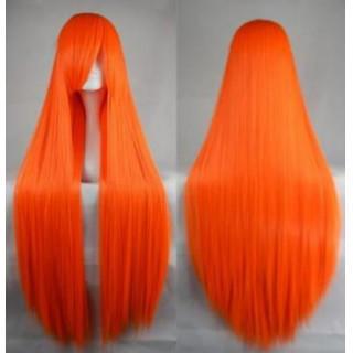 ウィッグ オレンジ カツラ ロング コスプレ ヘアー 女装 ストレート ネット(ロングストレート)