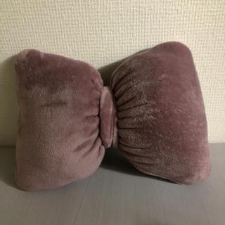 肌触りがたまらない リボン クッション ピンク(クッション)