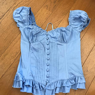 ダブルスタンダードクロージング(DOUBLE STANDARD CLOTHING)のダブルスタンダード コルセット ブルー パフスリーブ(カットソー(半袖/袖なし))