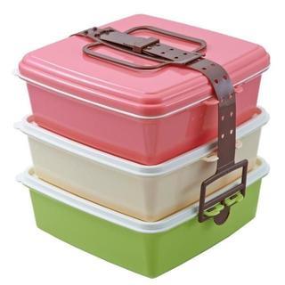 ピクニックケース角型(大) 3段 大型 弁当箱 スタック式  ☆ピンク