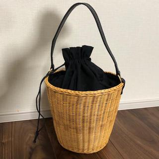 トゥモローランド(TOMORROWLAND)のBAILAバイラ 2way サークルかごバッグ バケツ巾着 ブラック黒 カゴ(かごバッグ/ストローバッグ)