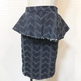 ザラ(ZARA)の美品✨ペプラム付き❤️膝丈デニム タイトスカート(ひざ丈スカート)