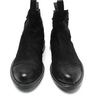 テットオム(TETE HOMME)のテットオム レザーサイドジップブーツ 美品 サイズL ブラック(ブーツ)