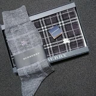 バーバリー(BURBERRY)の【新品未使用】BURBERRY 靴下 ハンドタオルセット(ハンカチ/ポケットチーフ)