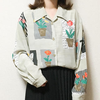 [used]グレーベージュフラワーオープンカラーシャツ