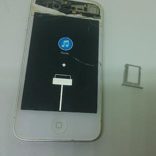 アイフォーン(iPhone)のiPhone4 Apple 白 simトレー ジャンクA1332 格安部品取格安(スマートフォン本体)