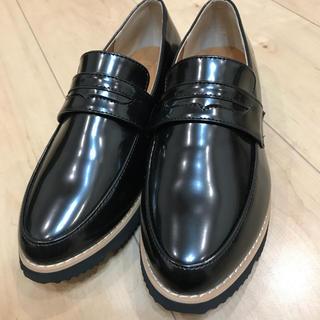 シマムラ(しまむら)のしまむら 黒 エナメルローファー(ローファー/革靴)