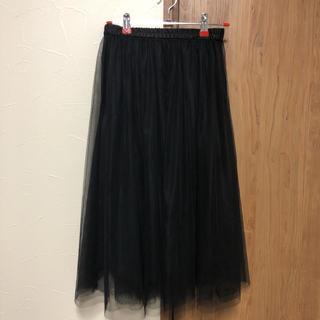 ジーユー(GU)のGU チュールスカート 黒(ロングスカート)