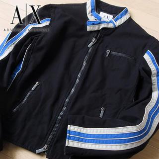 アルマーニエクスチェンジ(ARMANI EXCHANGE)の美品 大きめS アルマーニエクスチェンジ メンズ ジャケット ブラック(ライダースジャケット)