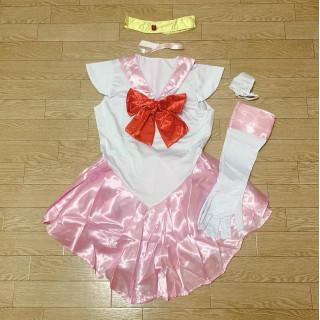 【ピンク*Mサイズ】セーラーミニムーン コスプレセット ワンピース(衣装一式)