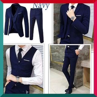 【セットアップ♪】スーツ 3点セット 春夏 細身 ネイビー サイズ: 2XL(セットアップ)